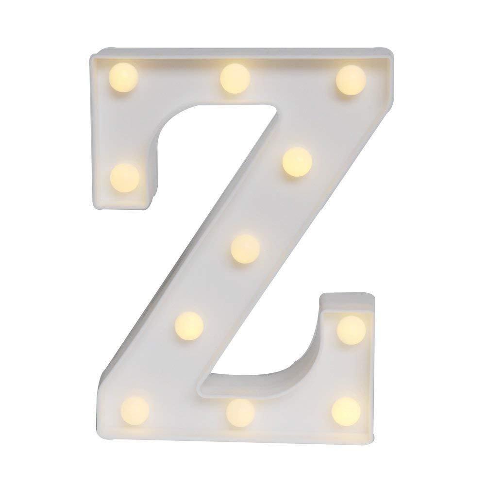BIEE LED decorative a forma di lettere dell/'alfabeto colore bianco alimentate a batteria per decorazione di casa matrimoni feste reception bar
