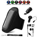 Comfy Sport band / Workout Armband Adjustable Neoprene Velcro Strap (Black) For Nokia Latest Smartphone + Retractable Car Charger