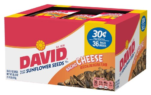 David Seeds In-Shell Sunflower Seeds Nacho, 0.8-Ounce Packages in 36-Count Boxes (Pack of 9)