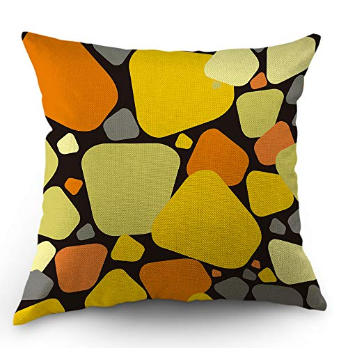 Moslion Cube Pillow Cover Geometric Colorful Pebble Mustard Throw Pillow Case 18x18 inch Cotton Linen Square Cushion Decorative Cover Valentine's Day Sofa Bed Yellow Orange Black