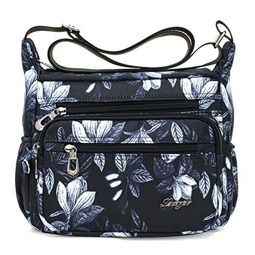 Womens Nylon Floral Shoulder Bag Crossbody Bag Messenger Bags Travel Handbags With Adjustable Strap Waterproof (white flower)