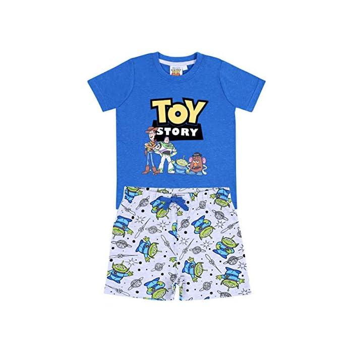 51MVVhCoCWL Pijama de color gris y azul formado por una camiseta de manga corta y pantalones cortos. Pijama con estampado de los personajes de 99% Algodón, 1% Poliéster
