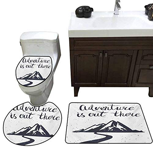 3 Piece Anti-Slip mat Set Landscape Monochrome Mountain Road Exploration Quote Adventure is Out There Custom Made Rug Set Charcoal Grey and White ()