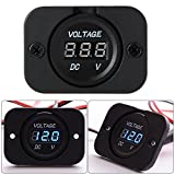 XCSOURCE Universal Digital Display Voltmeter Waterproof Voltage Meter Blue LED for DC 12V-24V Car Motorcycle Auto Truck Blue MA672