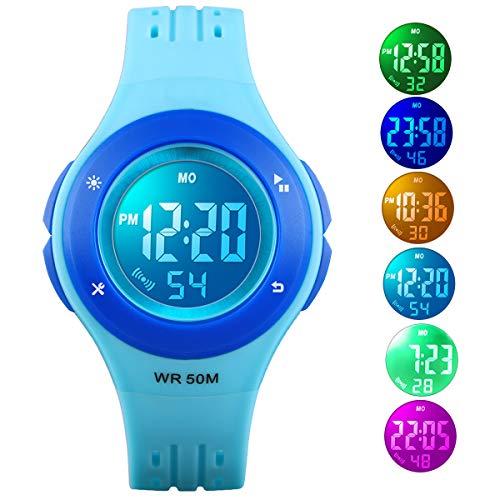 (Kid Watch 50M Waterproof Sport LED Alarm Stopwatch Digital Child Quartz Wristwatch for Boy Girl Blue)