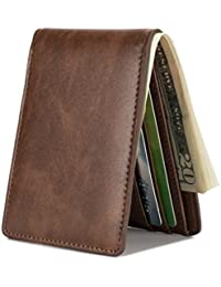 Mens Slim Front Pocket Wallet ID Window Card Case with...