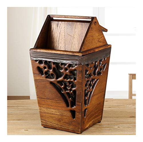 (Y.H_Super Trash Cans Solid Wood Trash Can Rocker Type Home Retro Creative with Lid Trash Can Wooden Living Room Bedroom Kitchen -Indoor Dustbins)