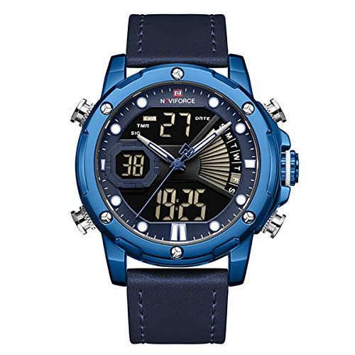 [Watches for Men ] NAVIFORCE 9172 Mens Watch - Business Fashion Luxury - Digital Quartz Dual Time Display - Casual Japanese Quartz Watches
