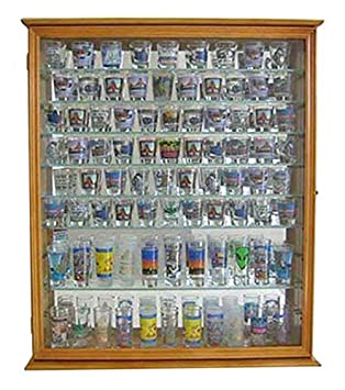 110 Shot Glass Display Case Holder Cabinet Shadow Box, Hinged Door, Solid Wood, Oak Finish SC09-OA