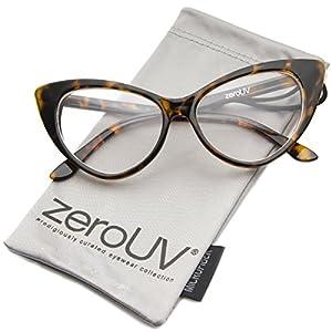 zeroUV - Super Cat Eye Glasses Vintage Inspired Mod Fashion Clear Lens Eyewear (Tortoise)