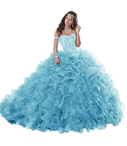 APXPF Women's Heavy Beaded Organza Ruffle Quinceanera Dresses for Sweet 16 Prom Ball Gowns Light Blue US22 ()