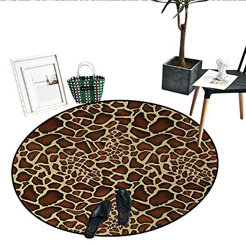 Zambia Print Area Rug Giraffe Skin Pattern Wildlife Symbolic Zoo Hippie Style Artful Picture Circle Rugs Living Room (43