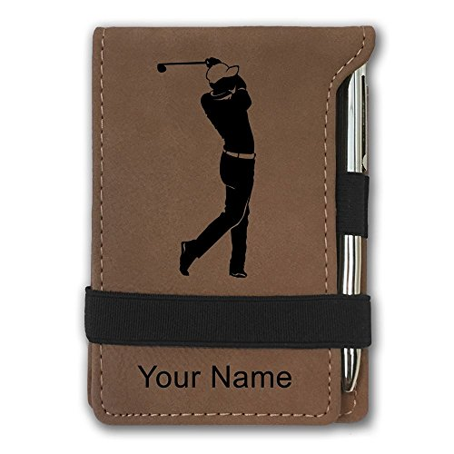 Golf Notepad (Mini Pocket Notepad - Golfer Golfing - Personalized Engraving Included (Dark Brown))
