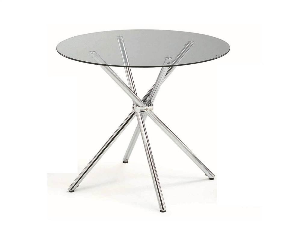 New Spec Inc Round Dining Table, Metal Glass