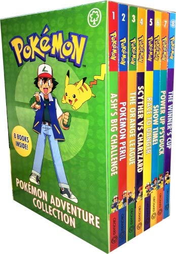 The Official Pokemon Adventure Collection 8 Books Box Set (Ash's Big Challenge, Pokémon Peril, The Orange League, Scyther Vs Charizard, Race to Danger, Show Time!, Power Up Psyduck, The Winner's Cup