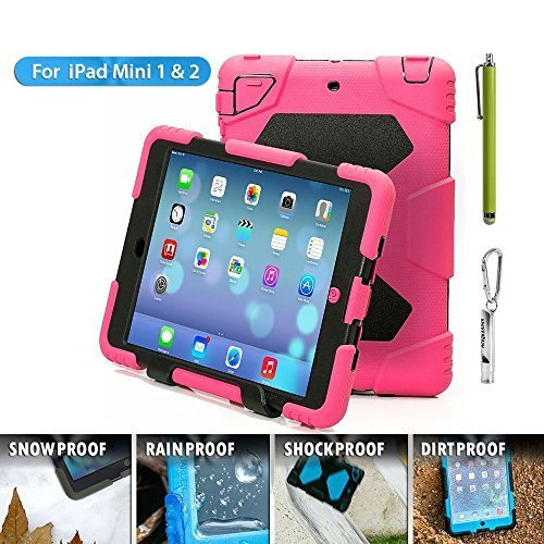 Ipad mini case,Olg Tech designnew products iPad mini 1&2&3 case [snowproof] [waterproof] [dirtproof] [shockproof] cover case with stand Super protection for kids Extreme Duty Dual Protective Back Cover Case Carabiner + whistle + handwritten touch pen (rose black)