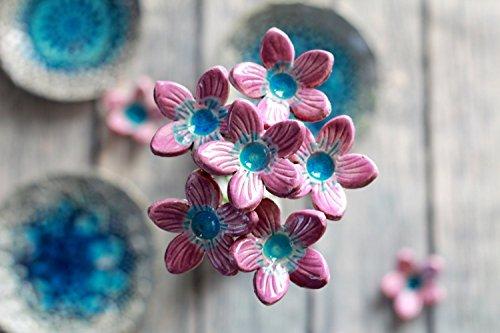 Holiday Surprise Bouquet (Handmade Ceramic flowers, Home decor, Table centerpiece, Alternative Wedding Bridal Bouquet, 6 Flowers Set)