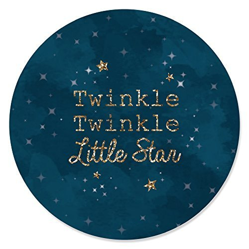 24 Count Big Dot of Happiness Twinkle Twinkle Little Star Baby Shower or Birthday Party Circle Sticker Labels
