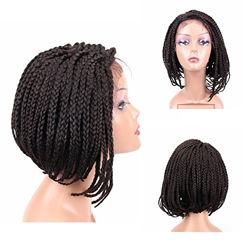 HAIR WAY Box Braided Wigs Bob Style Lace Front Wig for Black Women Glueless Short Bob Braided Lace Wig with Baby Hair for Daily Wear Half Hand Tied 14inches (Short Braided Wigs)