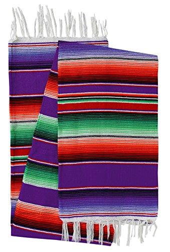 El Paso Designs Mexican Serape Blankets Bright & Colorful Saltillo Serape Blanket (X-Large, Purple)