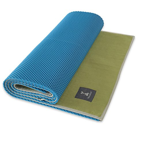 Waffle Yoga Mat & Gummy Cush Yoga Towel Set - Foldable Yoga Mat & Silicone Backed Ultra Thick Yoga Mat Towel - For All Yoga Types - Perfect For Hot Yoga - Makes a Great Travel Yoga Mat - 24