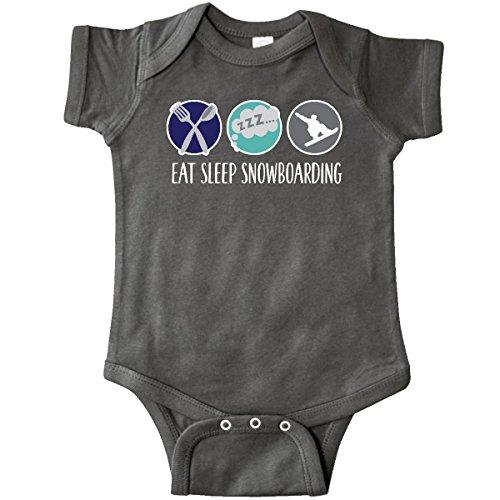 inktastic - Eat Sleep Snowboarding Infant Creeper Newborn Charcoal Grey - Snowboarding Onesie