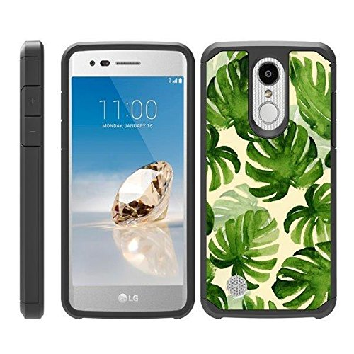 TurtleArmor | Compatible for LG Aristo 3 Case | Zone 4 | Tribute Empire | Risio 3 | Slim Fitted Dual Layer Hard Armor Hybrid Shell Case - Green Leaves