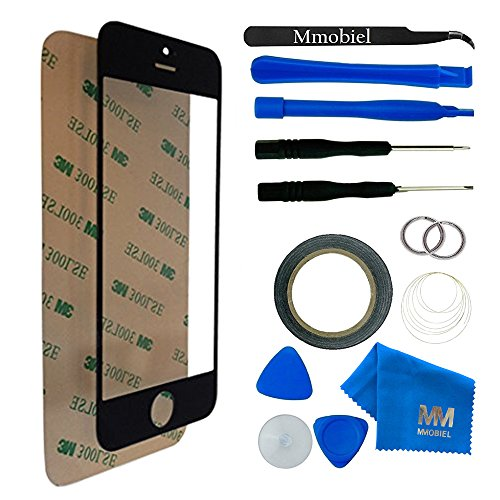 MMOBIEL Front Glass for iPhone 5 5C 5S SE Series (Black) Display Touchscreen incl 12 pcs Tool Kit / Pre-cut Sticker / Tweezers / Roll Adhesive Tape / Suction Cup / Wire / Cleaning cloth from MMOBIEL