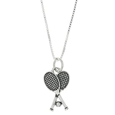 Sterling Silver Tennis Racquete Ball Pendant Necklace