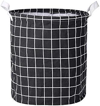Trenlp Clothes Laundry Cotton Linen Storage Bin Folding Hamper