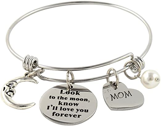 Stainless Steel Moon Heart /& Pearl Adjustable Bangle Charm Bracelet Mom or Dad