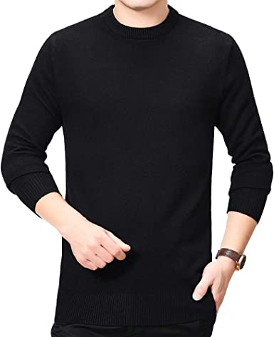 V-Neck Pullover Knitted Long Sleeve Sweater HIENAJ Mens Casual Slim Fit Sweaters