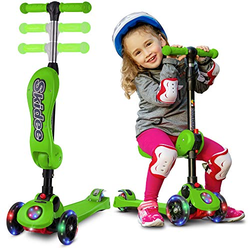 Scooters for Kids with Folding removable Seat zero assembling – Adjustable Height Kick Scooter for Toddlers Girls or Boys – Fun Outdoor Toys for Kids Fitness, 3 PU Flashing Wheels Extra Wide Deck ()