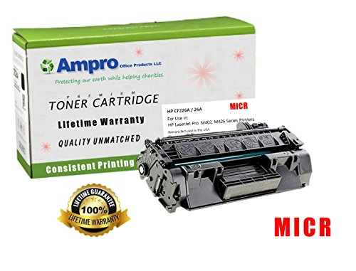 Ampro's CF226A MICR Compatible Toner Cartridge Replacement for HP CF226A Micr or HP 26A for HP LaserJet Pro M402 M426 MFP Series. by Ampro Office Products LLC.