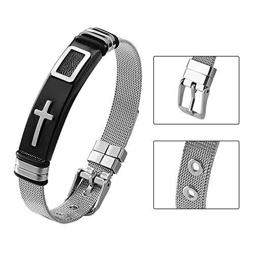 Aienid Mens Bracelet Stainless Steel Cross Silver Cuff Bracelets for Women Adjustable Bangle (Steel Cuff Rubber Stainless)