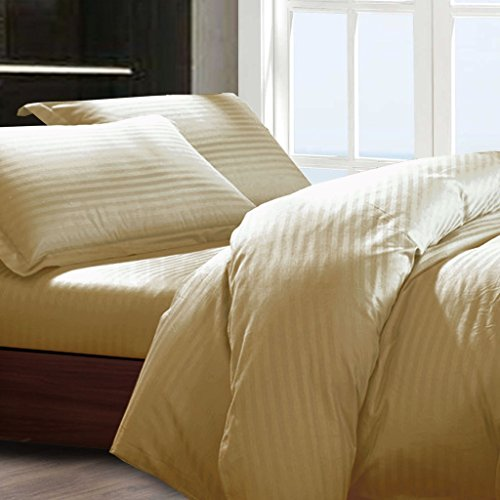 Essina Full / Queen Duvet Cover Set 3pc Color Palette Collection, 100% Cotton 680 thread count, Dobby Stripe, Pillow Sham, Brown