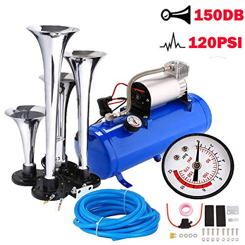 4 Trumpet Train Air Horn with 12 Volt Compressor and Kit Set for Vehicle Trucks Car SUV (15 x 7.1 x 6.3 inch, Blue)