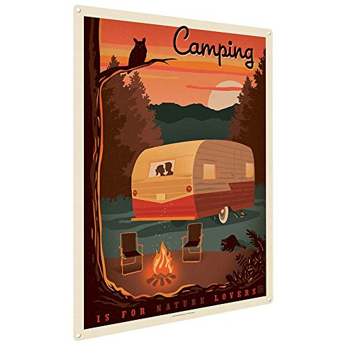 Anderson Design Group Camping is for Nature Lovers 9'x12' Metal Art Print, Home Decor for Office, Nursery, Patio, Garage, Cabin, Lodge, or Vacation Home