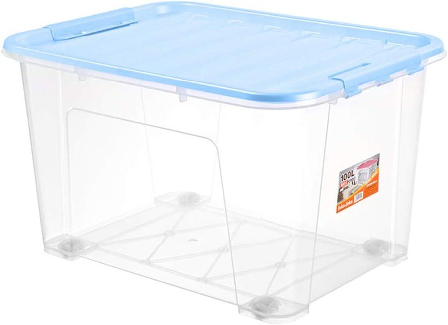YQAD - Cajas de plástico selladas de espesor, antihumedad, antiinsectos, apilables, antipolvo, adecuadas para dormitorios de balcón, habitación de niños y oficinas, color negro, azul, (85 L) EU 0.00watts: Amazon.es: Hogar