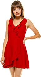 5746002058 Teeze Me Juniors Sleeveless V Neck Ruffle Surplice Faux Wrap Dress