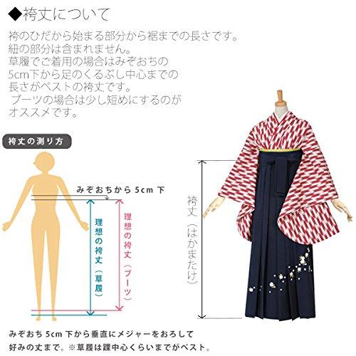 [ 京都きもの町 ] レディース グラデーション袴単品「黒色ぼかし 桜の刺繍」卒業式、修了式に
