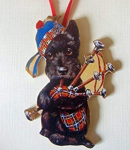 Bagpipe Scottie Ornament Handcrafted Wooden Terrier, Plaid Kilt Tam Dog Lover Gift, Scottie Magnet Parade Music Scotland Souvenir Dressed