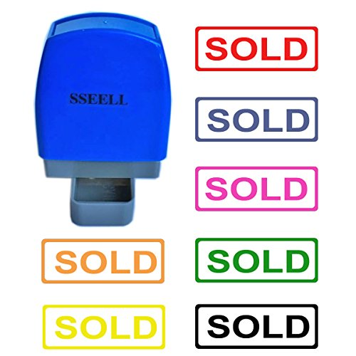 SSEELL Sold Self Inking Rubber Flash Stamp Self-Inking Pre-Inked RE-inkable Office Work Company School Stationary Stamps with Frame Line - Blue Ink Color