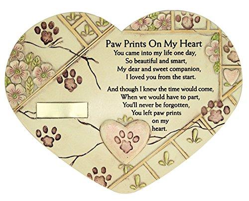 BANBERRY DESIGNS Bereavement Pet Memorial Heart Plaque Features Paw Prints On My Heart Pet Marker Urn