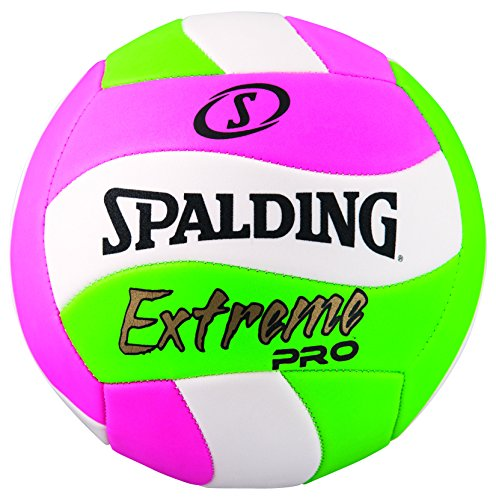 Spalding Extreme Pro Wave Volleyball, Pink/Green, Official (Green Wave)