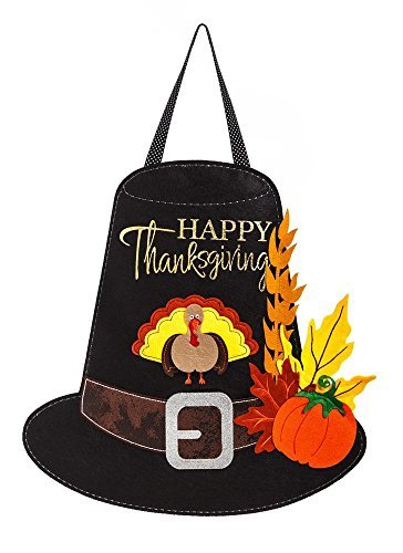 Evergreen Flag Thanksgiving Pilgrim Hat Outdoor Safe Felt Door Decor