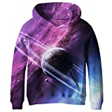 Euro Sky Big Girls Kids Blue Galaxy Pockets Sweatshirts Hooded Hoodies 4-16Y NO17 L