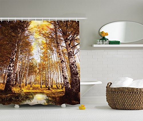 Jungle Shower Curtain Birch Forest Decor by Ambesonne, Lush Foliage Trees Branches and Pond Theme Picture Print, Polyester Fabric Bathroom Set with Hooks, Blue Green Brown (Mini Pond Liner)