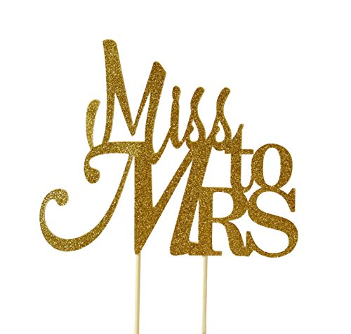 All About Details Gold Miss To Mrs Cake Topper