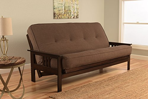 Kodiak Montreal X Espresso Futon Frame w/Quality 8 Inch Innerspring Mattress Sofa Bed Set Full Size (Cocoa Linen Matt and Frame Only)